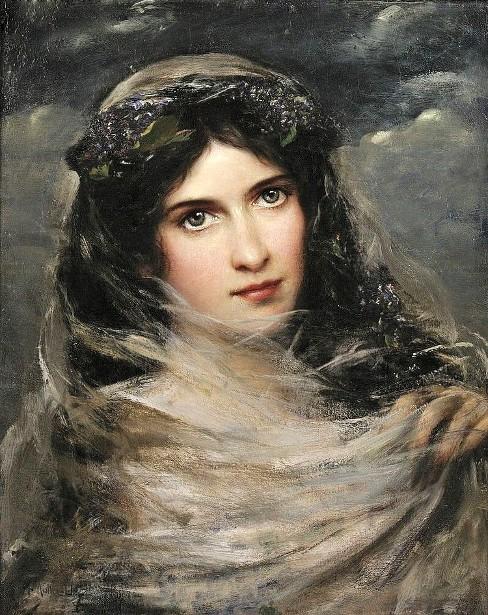 Muller-Ury_-_Dark-Haired_Beauty_In_A_White_Veil