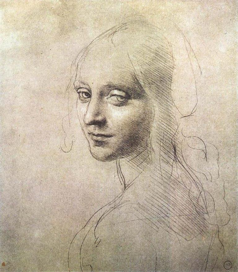 800px-Leonardo_da_vinci,_Head_of_a_girl_01