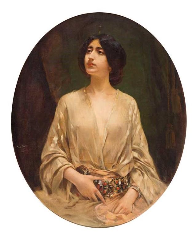 Caspar_Ritter_-_Dame_mit_prachtvollem_Gürtel_und_durchsichtiger_Bluse,_1900