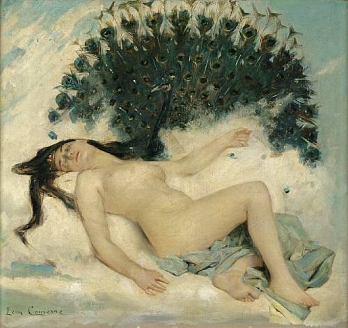 Léon_François_Comerre_Sleeping_Woman_with_a_Peacock