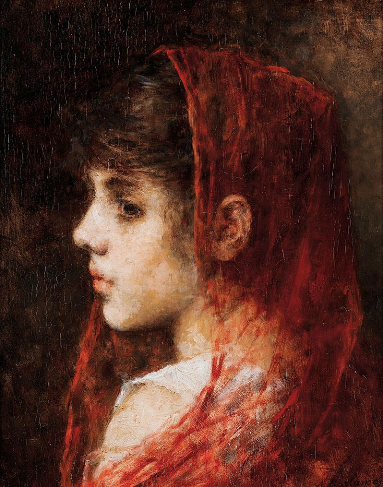 Alexei_Harlamov_-_Portrait_of_a_young_girl_with_a_red_veil