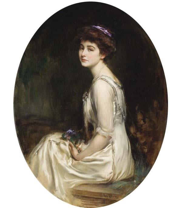 Caspar_Ritter_-_Elégante_au_bouquet_de_fleurs,_1910