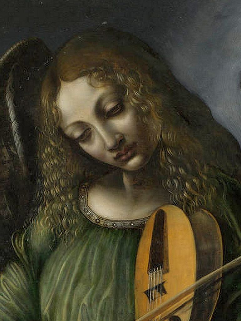 800px-Predis,_Giovanni_Ambrogio_de_—_Angel_in_green_with_a_vielle,_part_of_S._Francesco_altarpiece,_Milan_(bust)_—_1490s.jpg