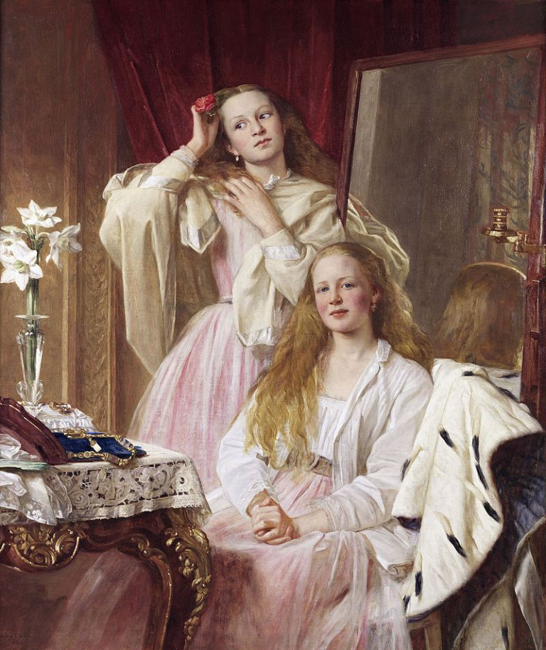 800px-Emma_and_Federica_Bankes_of_Soughton_Hall,_by_Henry_Tanworth_Wells