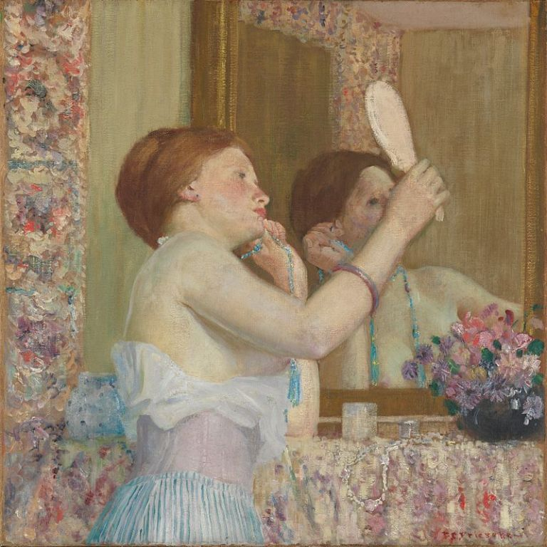 800px-Woman_with_a_Mirror,_Frieseke