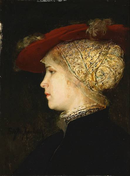 Friedrich_August_von_Kaulbach_-_A_portrait_of_a_young_woman_in_profile_with_a_red_hat.jpg