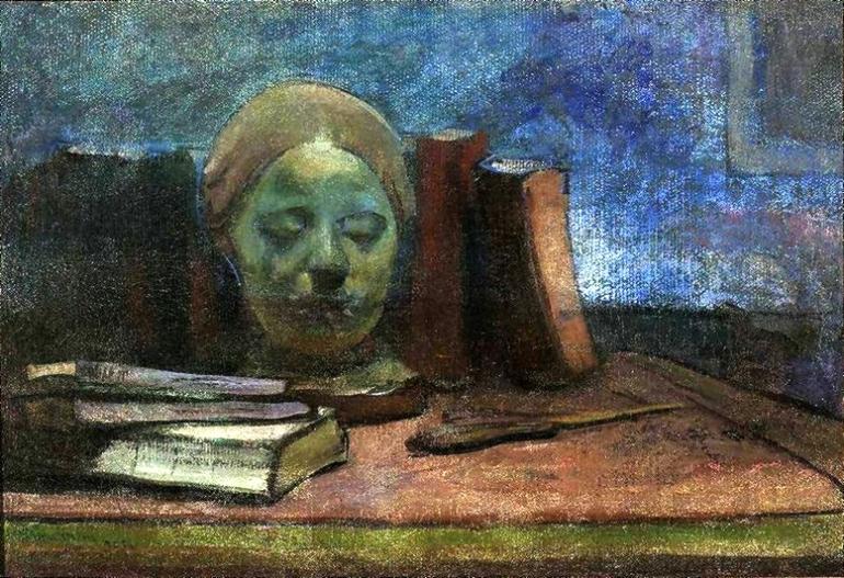 Ślewiński_Mask_and_books