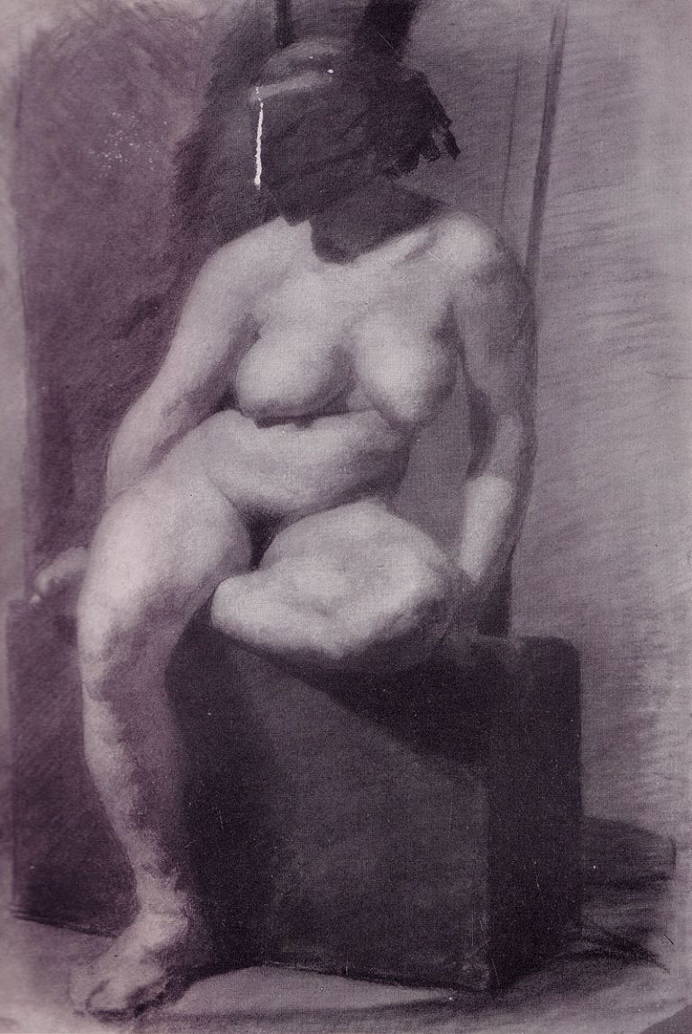 Eakins_-_Nude_woman,_seated,_wearing_a_mask