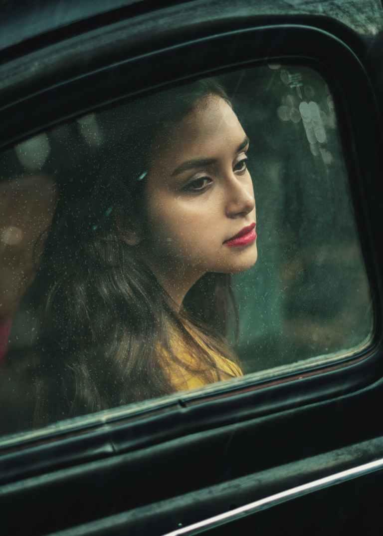 woman inside the car