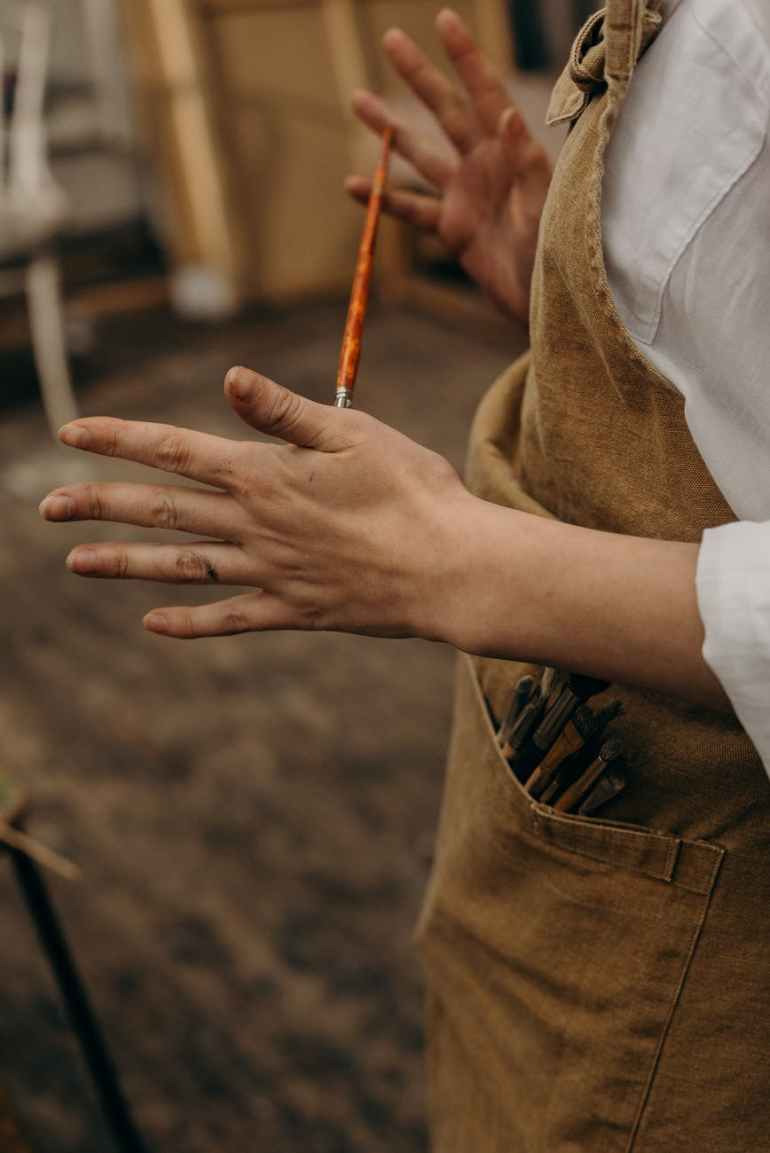 paint brush on brown pocket