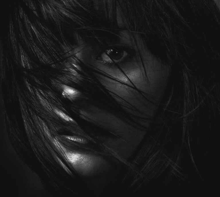 monochrome photography of a woman