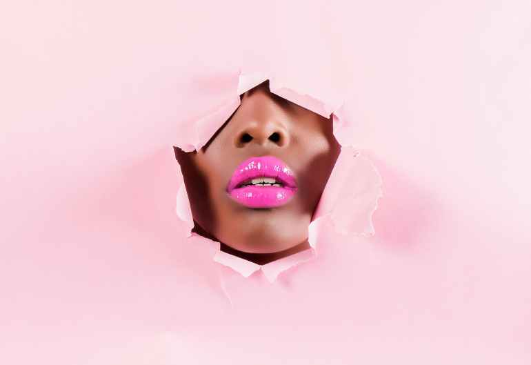 person with pink lips