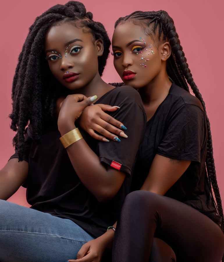 women wearing black shirts