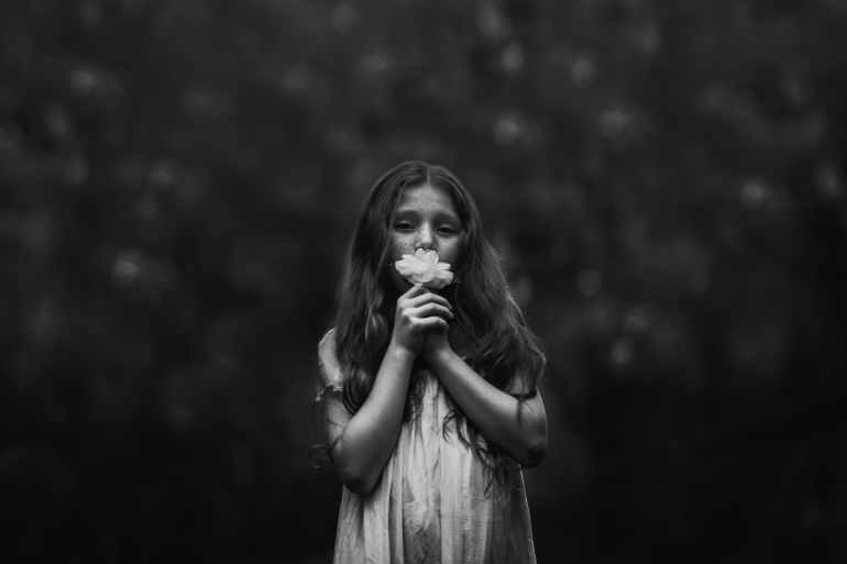 black and white blur child children