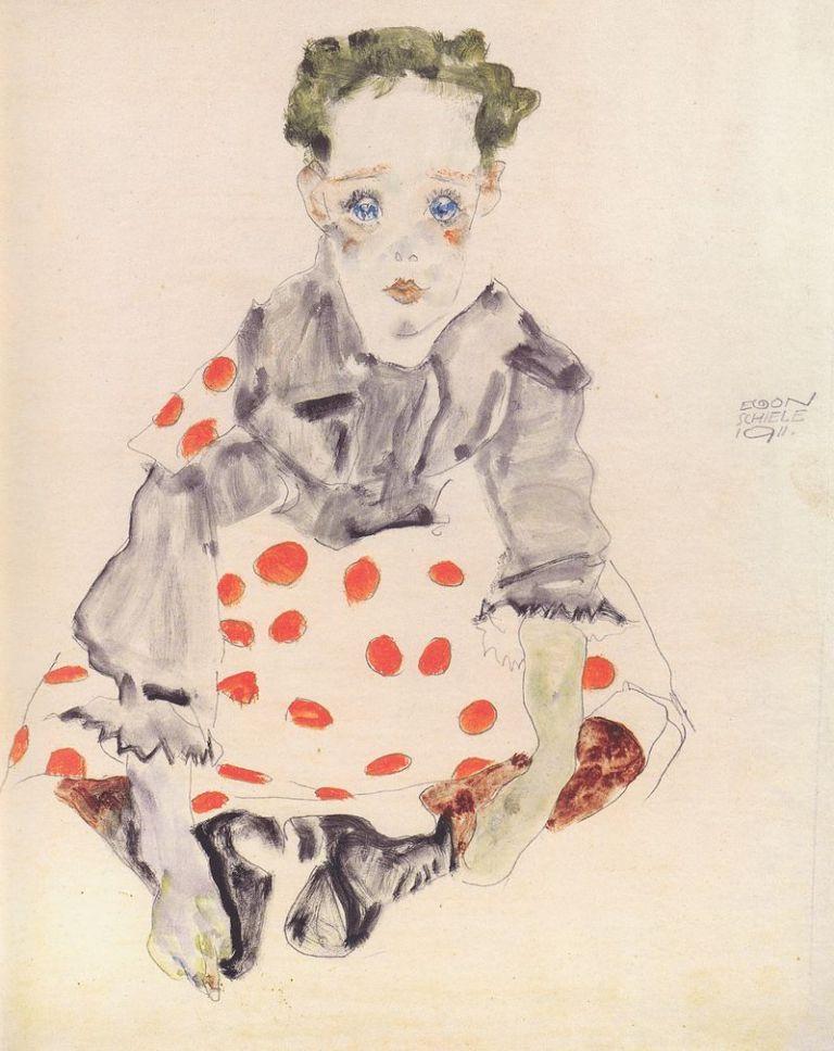 800px-Egon_Schiele_-_Mädchen_im_getupften_Kleid_-_1911
