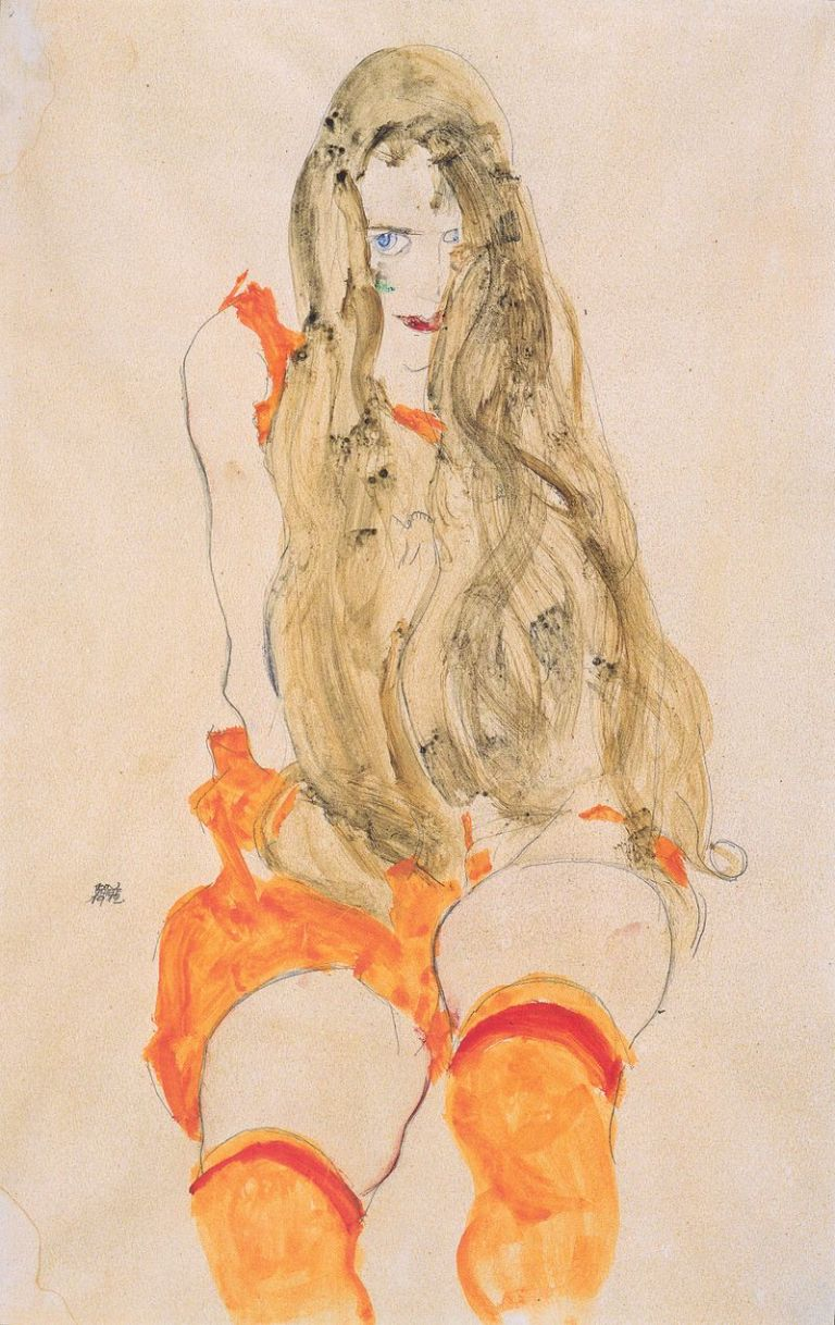 800px-Egon_Schiele_-_Sitzendes_Mädchen_mit_herabfallendem_Haar_-_1912