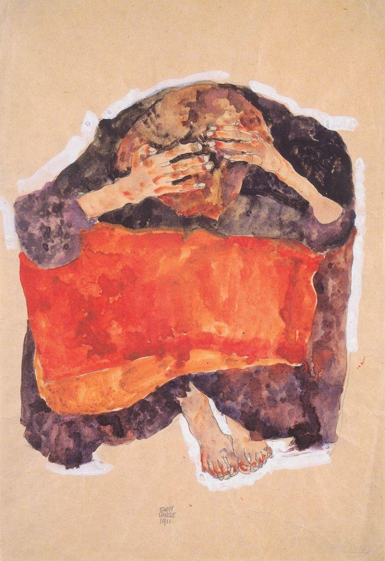 800px-Egon_Schiele_-_Sitzendes_Mädchen_mit_herabgebeugtem_Kopf_-_1911