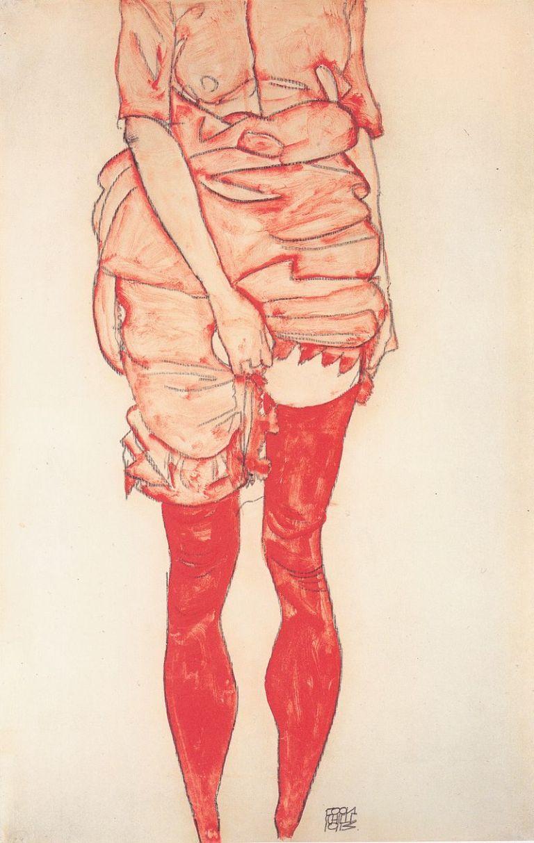 800px-Egon_Schiele_-_Stehende_Frau_in_Rot_-_1913