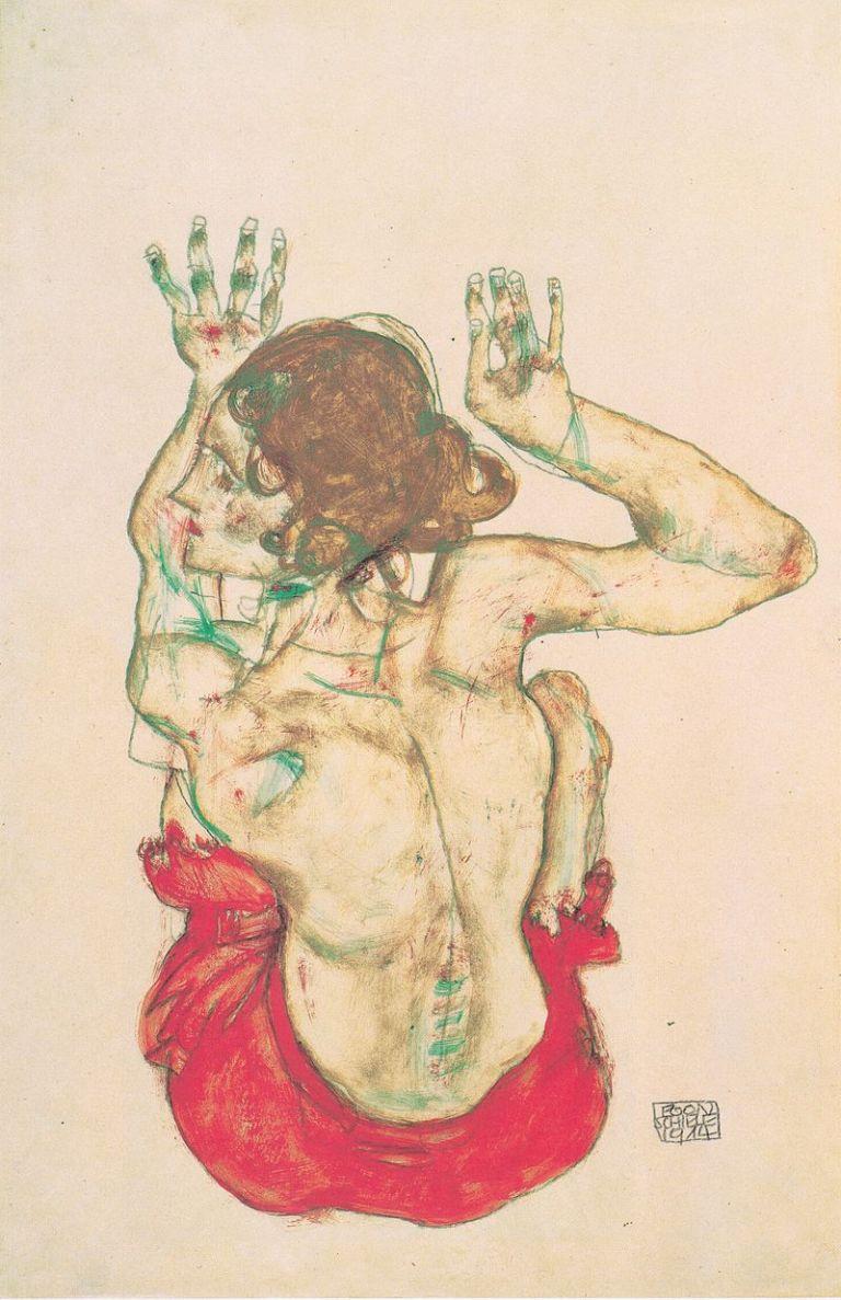 Egon_Schiele_-_Sitzender_weiblicher_Rückenakt_mit_rotem_Rock_-_1914.jpeg