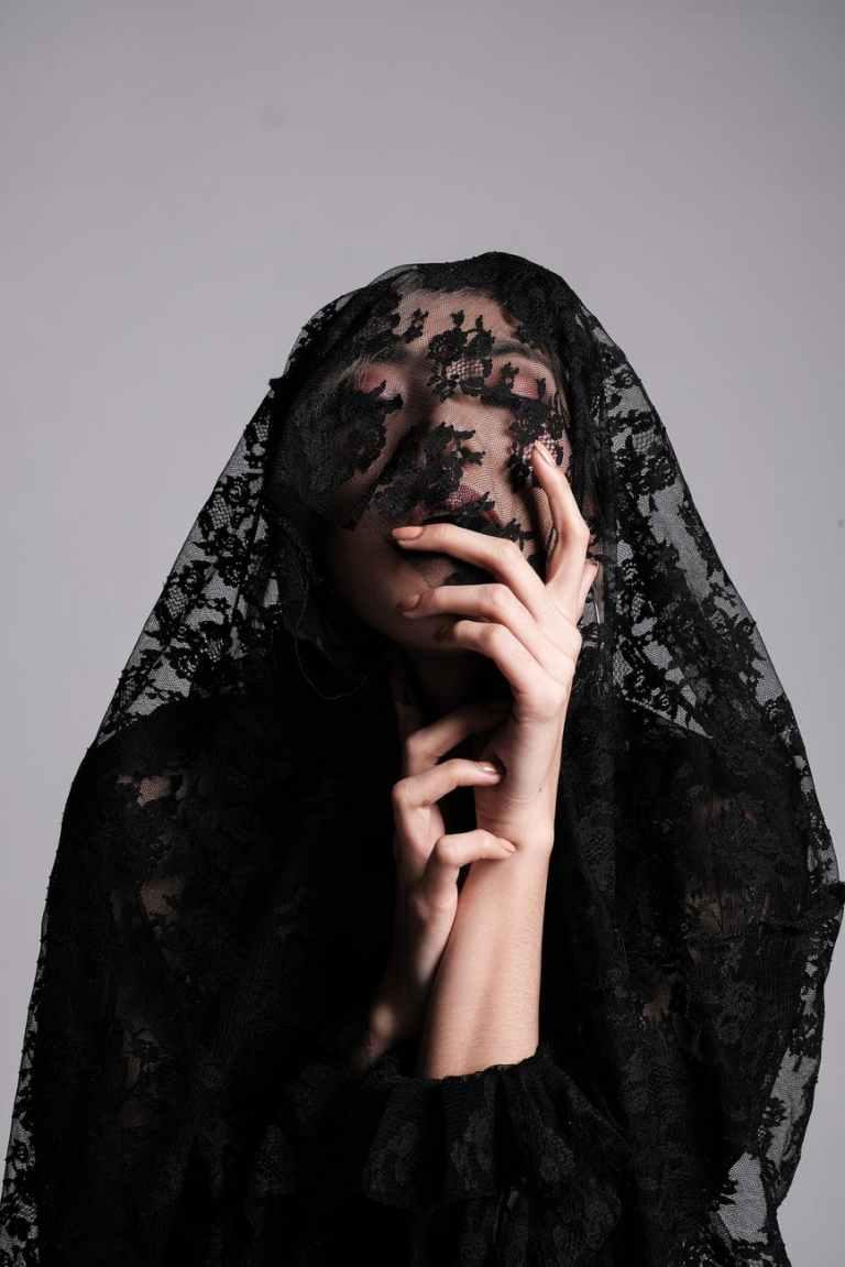 photo of woman wearing black lace