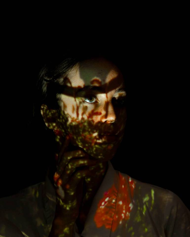 creepy woman on a dark room
